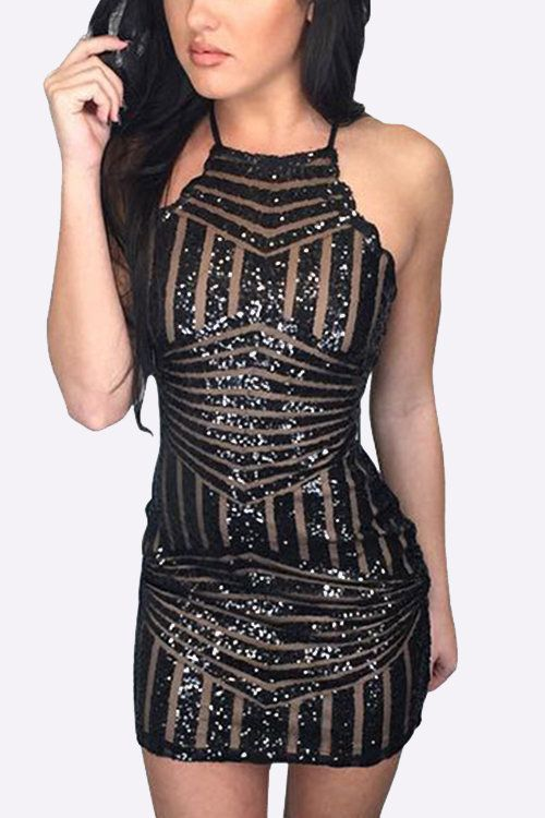 Black Bodycon Halter Sequins Random Geometry Pattern Mini Dress