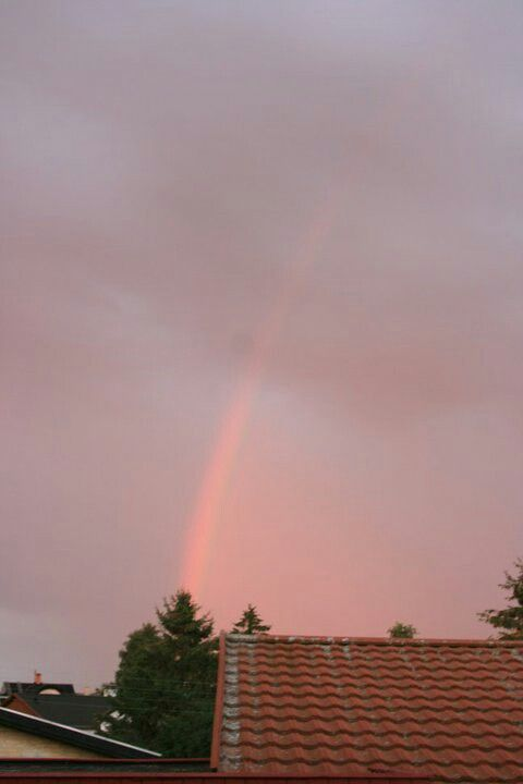 Pink rainbow at sunset