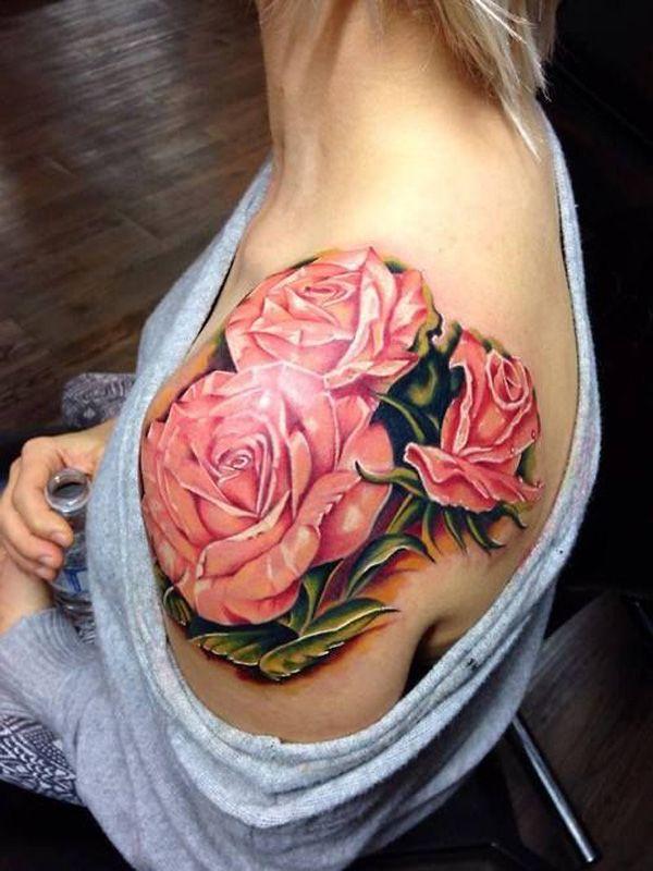 pink rose shouder tattoo - 40 Eye-catching Rose Tattoos   <3