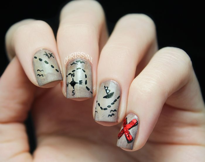 16 best Treasure Map Nail Art images on Pinterest | Map nails ...
