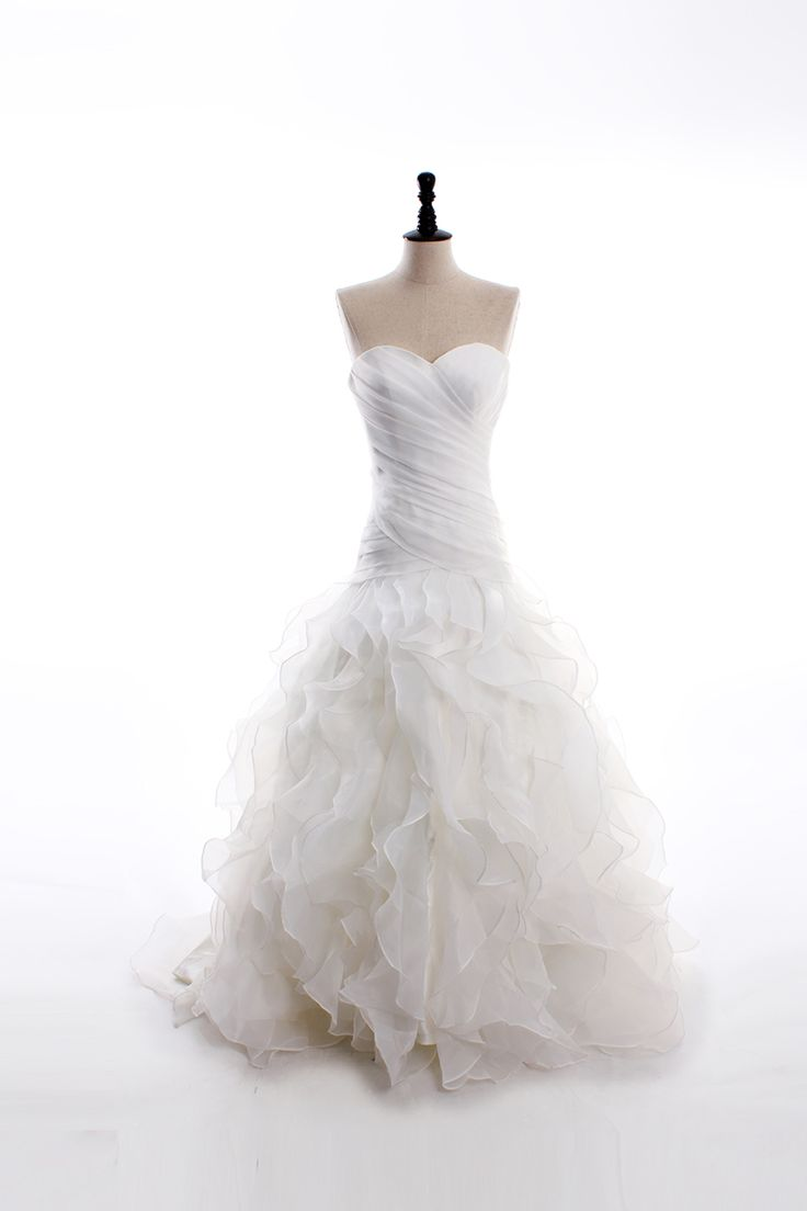 Sweetheart neckline satin organza floor length ruffled for Around the neck wedding dresses