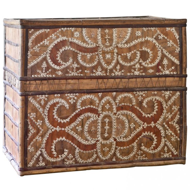 Woven Palm Storage Box with Beaded Shell Applique