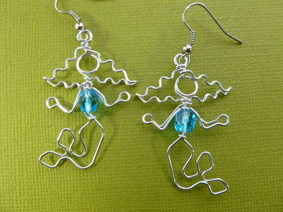 PENDIENTES de sirena wire funcionan cristal azul por chatnoir77