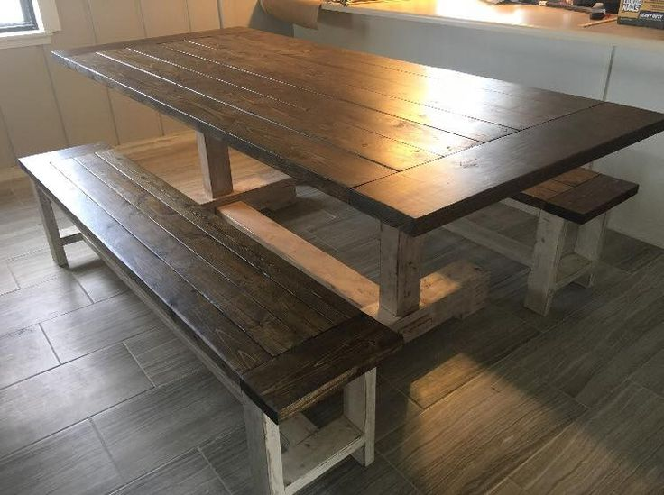 Custom Farmhouse Table with Benches Products Pinterest