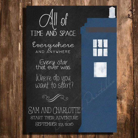 Delightful Doctor Who TARDIS Save The Date   Personalized Chalkboard Style Printable Wedding  Invitation By PrideAndPrintables On Etsy