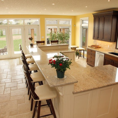 Kitchen Islands Traditional Design, curved corbels, colored granite, painted island.