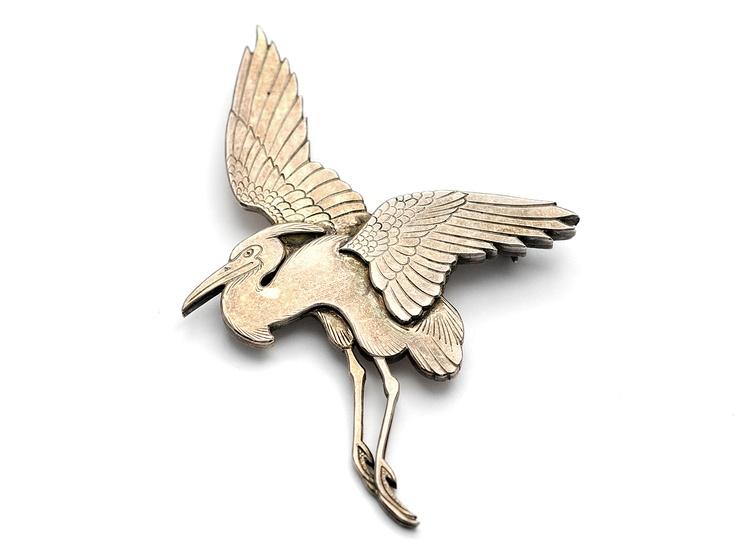 Broch, crane, #4, 925 silver, Wiwen Nilsson, 1954