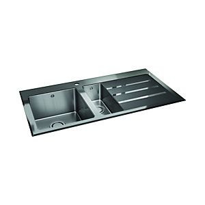 Wickes Rae Black Glass 1.5 Bowl Stainless Steel RH Drainer | Wickes.co.uk
