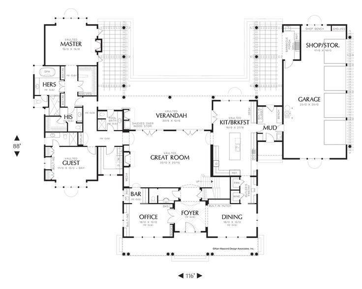 Main floor plan of mascord plan 2443 the seligman for His and hers bathroom floor plans