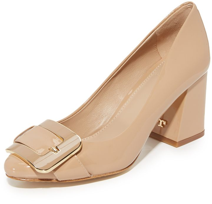 Neutral color and the buckle at the front draws me in. I am glad to see high fashion shoes with a reasonable heel.   Tory Burch Maria 75mm Pumps  #shoes #toryburch #commissionlink #oybpinners