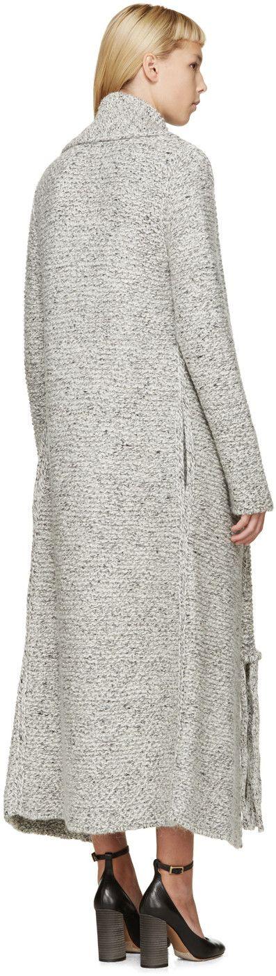Chloé - Grey Oversized Tweedy Scarf Cardigan