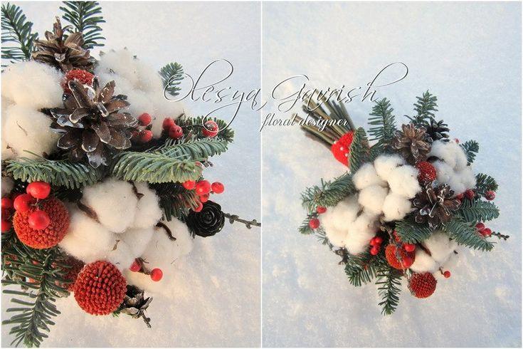 Олеся Гавриш - свадебная флористика и декор - Букет невесты с шишками, хлопком, краспедией и красными ягодами илекса