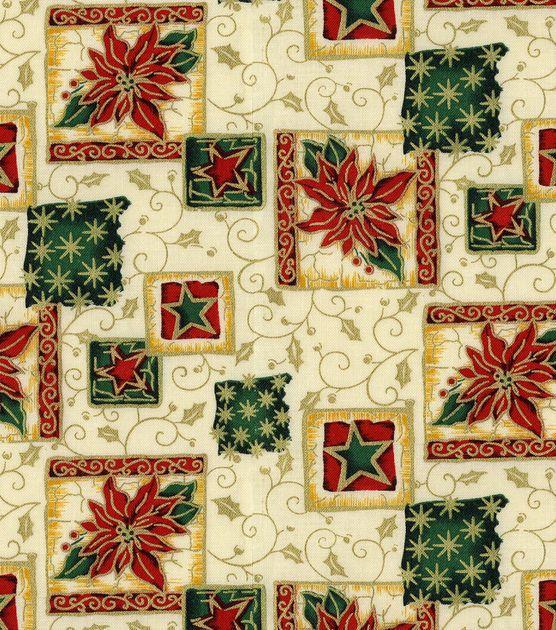 Holiday Inspirations Fabric-Poinsettia Block: