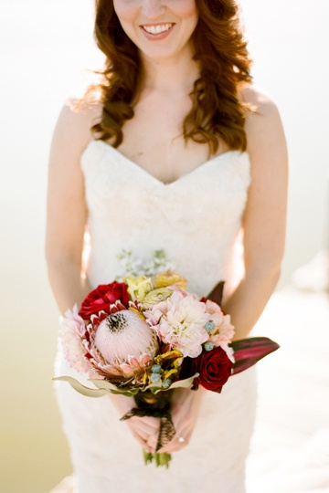 gorgeous bouquet with a protea by Lindy Floral | photo by Ryan Ray: Pink Wedding, Colors Combos, Bridal Bouquets, Red And Pink, Wedding Bouquets, Yellow Bouquets, Floral Bouquets, Pink Floral, Tables Flowers