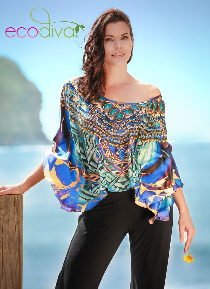 The stunning Aegean Queen Kaftan Top by Eco Diva $189