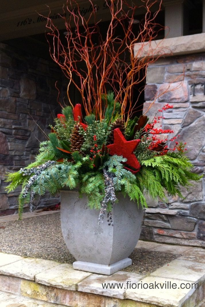 Red Christmas Planter with starts