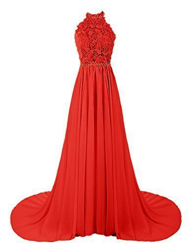 Charming Long Prom Dress, Lace top Red Chiffon Evening Dress,Backless Prom Dresses,Sexy Prom Dress 2017 by fancygirldress, $159.00 USD
