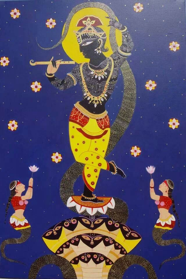 Artist Bhaskar laheri. Only those who render unreserved uninterrupted, favourable service unto the lotus feet of Lord Krsna who carries the wheel of the chariot in His hand, can know the creator of the universe in His full glory, power and transcendence. S.B. Canto 1, Ch. 3, Text 38.