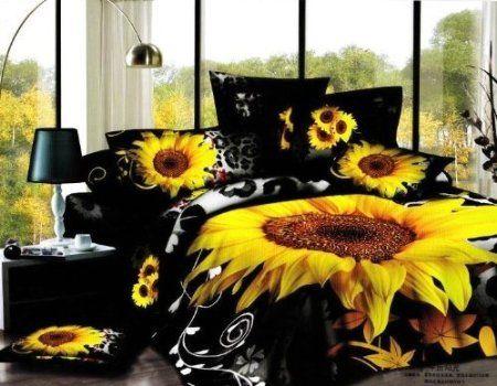 Amazon.com: DIAIDI,Printing Sunflower Bedding Set,Painting Sunflower Oil Comforter Set,Unique 3D Bedding,Queen,4Pcs (3): Home & Kitchen