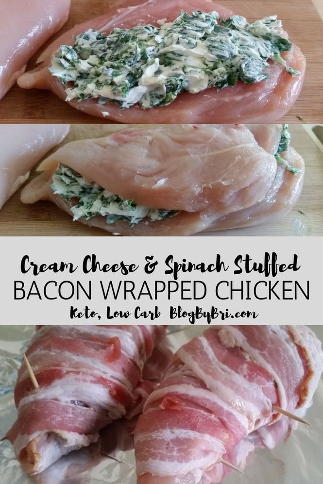 Low Carb Keto Cream Cheese and Spinach Stuffed Bacon Wrapped Chicken