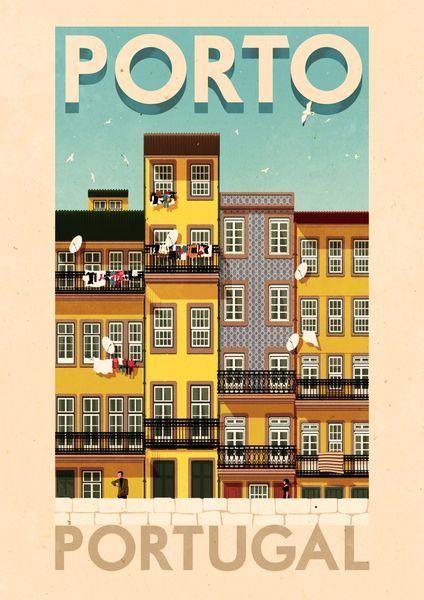 Poster Oporto #postersCiudades #vintage