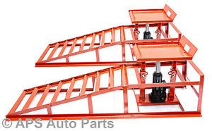 Heavy-Duty-Hydraulic-Car-Ramps-1500-lbs-Garage-Van-Mechanic-Bottle-Jack-Ramp-New