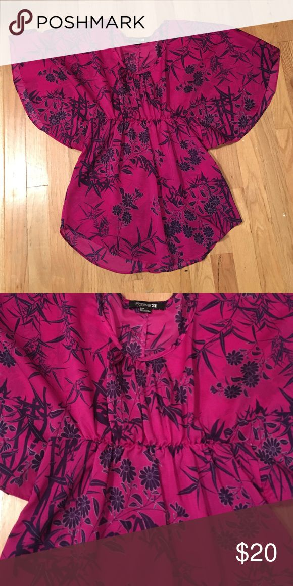LOWEST Forever 21 batwing top Pink and purple sheer batwing dressy top Forever 21 Tops Blouses