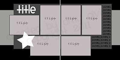 2 page layout, 6 photo, Photos: 3 vertical 3 horizontal