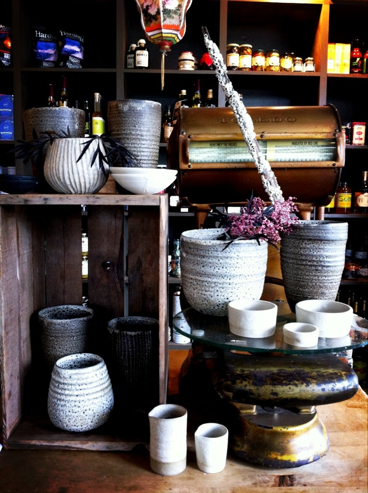 My sisters pots in the the shop.