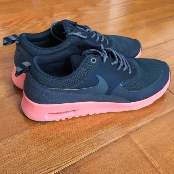 Nike air max Thea Impossible Colors to find. Black grey and coral pink.  Hardly worn Nike Shoes