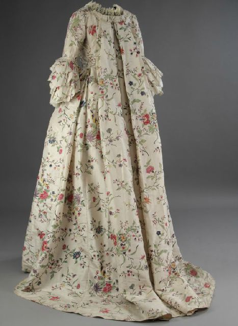 Back view, Dress, 1763, silk. McCord Museum  This wedding dress is one of the few 18th-c silk gowns with a hand-painted floral design to be found in a North American
