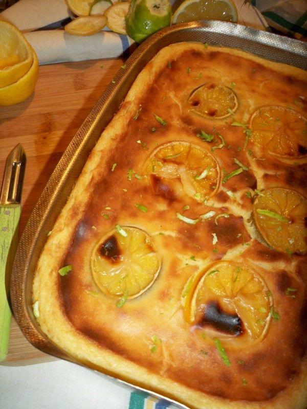 Cette gourmandise est une recette originale, création de la Mère Mitraille, le Far aux deux Citrons, Jaune et Vert. Un dessert…