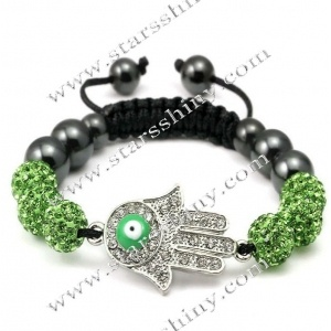 Shamballa Bracelet, alloy hamsa & clay rhinestone beads, adjustable