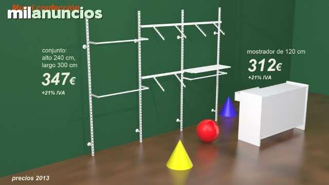 . Estanter�as y mostradores para tienda de confecci�n. M�dulos adaptables a todad las medidas y presupuestos. Mostradores de diferentes largos, tambi�n disponible con vitrina.