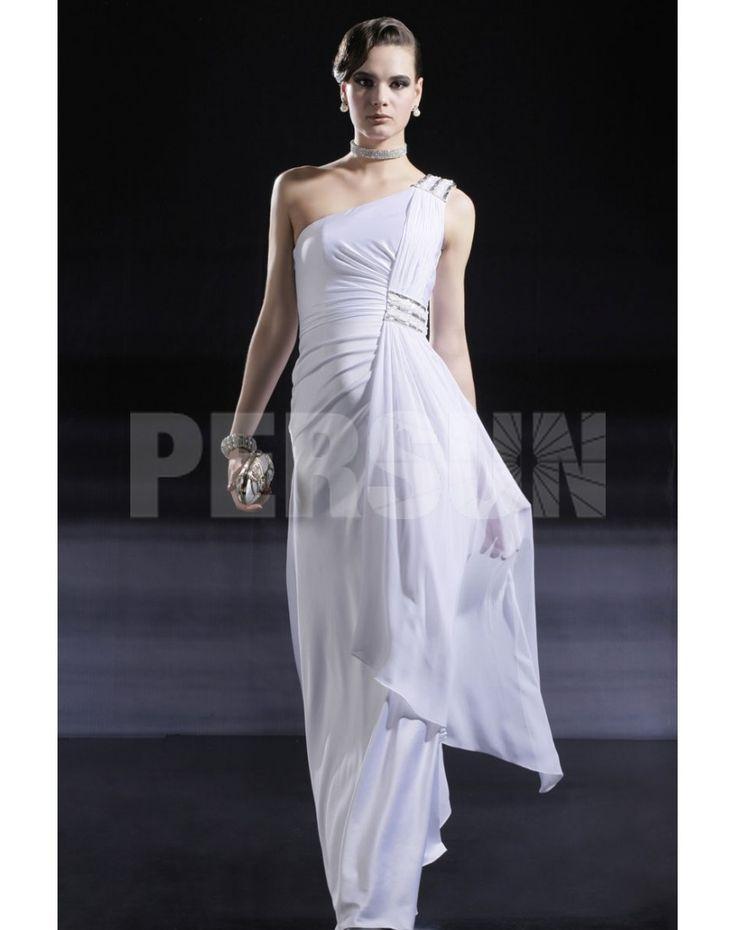SHEATH ONE SHOULDER GATHERED PLEAT WHITE EVENING DRESS