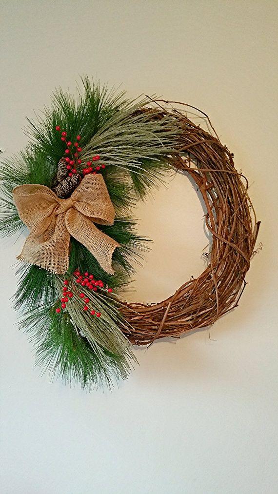 Holiday wreath, grape vine wreath, shabby chic christmas wreath, christmas wreath. Fixer upper inspired