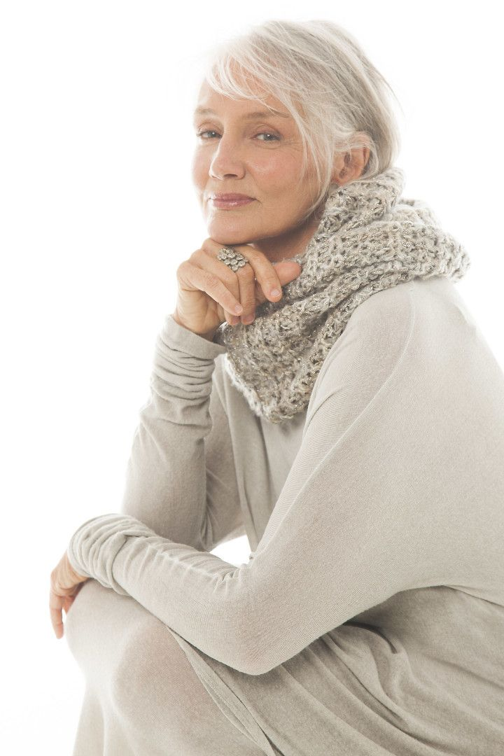 Cindy Joseph-oatmeal beige with cowl scarf.