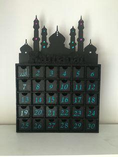 Hand decorated wooden Ramadan calendar #ramadan #eid #calender #ramadancalendar…