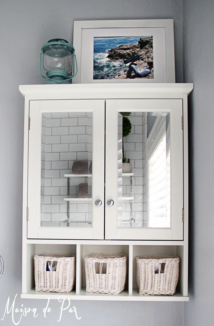 Mirrored Medicine Cabinet Above The Toilet Saves Space And Makes The Bathroom House Small Bathroom Storage Bathroom Wall Cabinets Shelves Over Toilet