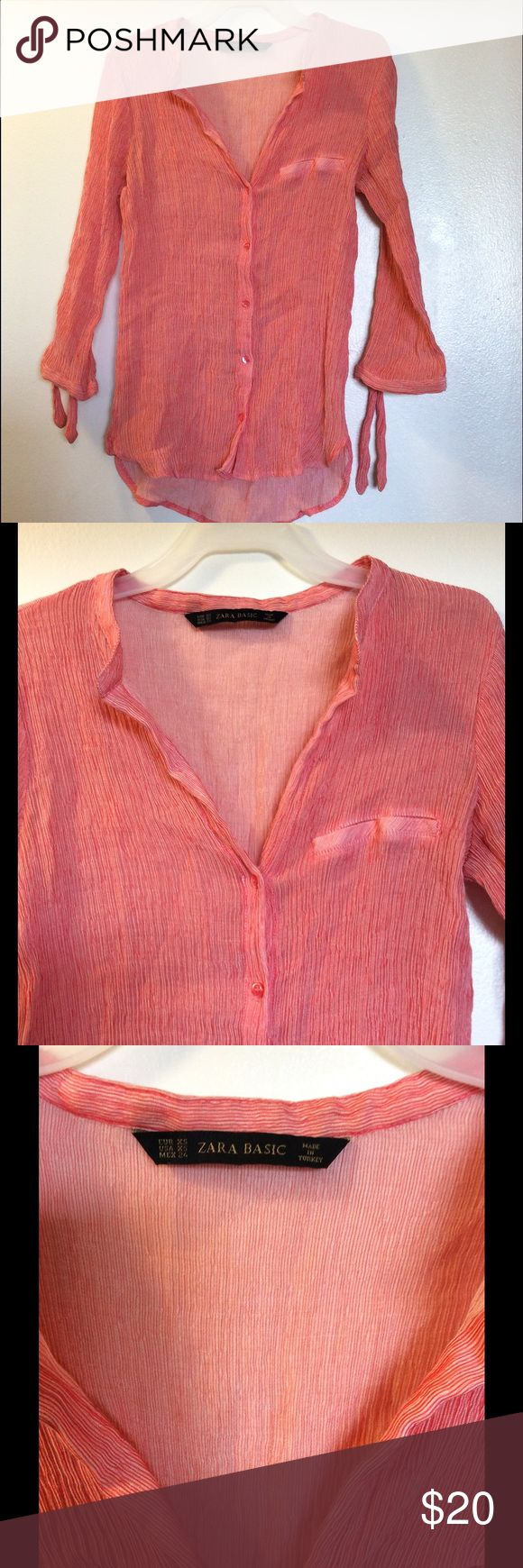ZARA Basic Button Down Top You are Bidding on  ZARA Basic Button down shirt  Size: XS  Color: Orange , white striped  Condition:  Good used, No rips, or damages.  ***Be sure to check out out other Brands:  Hollister, GAP, Abercrombie & Fitch, ZARA, New York & Company, Forever 21, DKNY, Charlotte Russe, and Many More.  Thank you very much. Enjoy shopping! Zara Tops Button Down Shirts