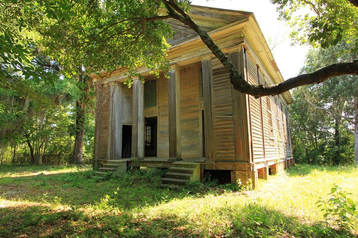 Adams Grove Presbyterian Church, 1853 Long-abandoned and still gorgeous, it is a historic Greek Revival-style church building in rural Dallas County, Alabama, near the community of Sardis. Built in 1853, it features a distyle-in-antis type portico with box columns.