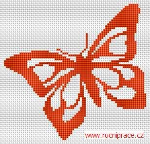 Butterfly, free cross stitch patterns and charts - www.free-cross-stitch.rucniprace.cz. ☀CQ crochet knitting graphghans charts graphs