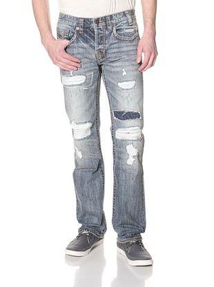 MEK Denim Men's Oaxaca Distressed Straight Fit Jean