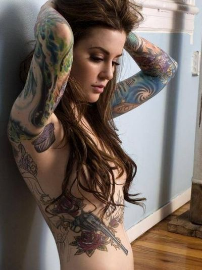 Another beautiful shot of Ms. Arniotis. #inked #inkedmag #tattoo #armpit #cupcake #colorful #idea #cute