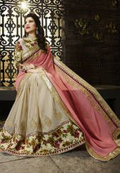 Peach and Beige Faux Georgette Half Half Saree with Blouse
