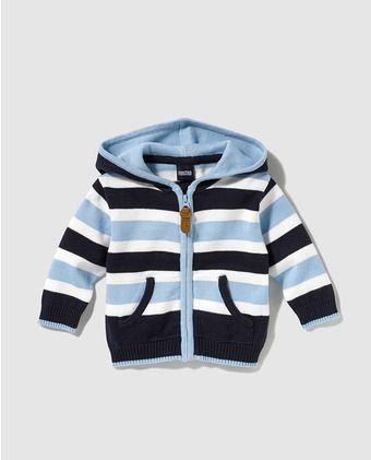 Chaqueta de bebé niño Freestyle con estampado de rayas y capucha