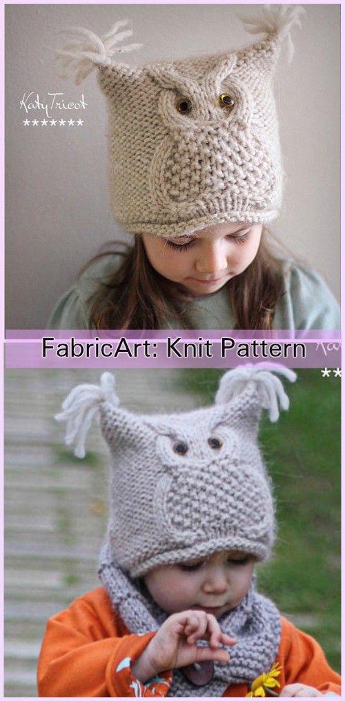 "Knit Kids Owl Hat Patterns - Owl Hat Knitting Pattern ""Chouette"""