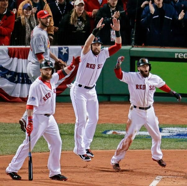 St. Louis Cardinals starting pitcher Adam Wainwright, left, rear watches as Boston Red Sox's Jonny Gomes, left, Jacoby Ellsbury, center, and Dustin Pedroia