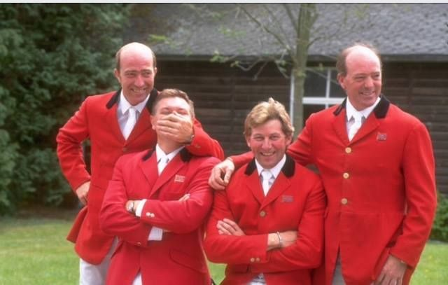 The 'Golden' Age of British show-jumping. From left to right: Michael Whitaker, Geoff Billington, Nick Skelton, and Michael's older brother, John. [All 4 gentlemen still compete at the highest level in sj - not so much Geoff though. Together they have a combined age of 237 and still hold their own against the much younger generation]