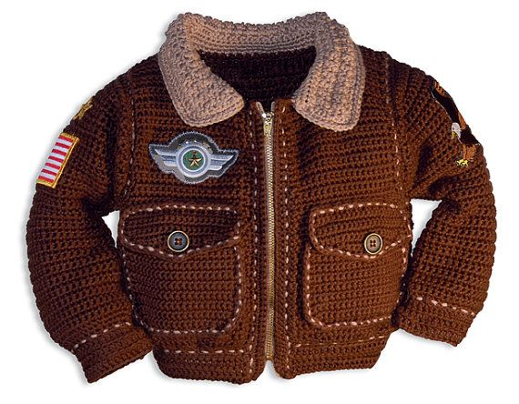 Crochet Patterns, Crochet Patterns for Boys, Crochet Patterns for Girls, Air force Jacket, Military Jacket, Bomber Jacket
